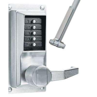 Panic bar with keypad (keyless lock)